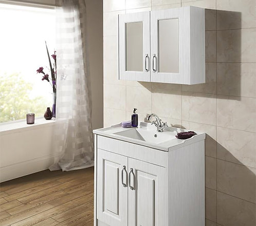 York 800mm White Ash Mirror Cabinet OLF115