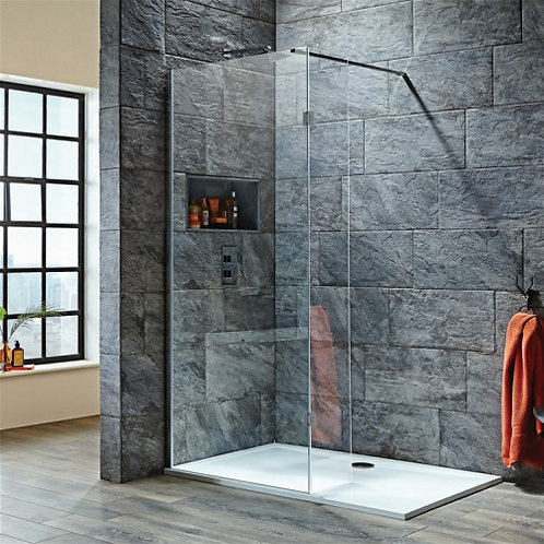 Scudo 8mm Wetroom Glass With 275mm Hinged Deflector