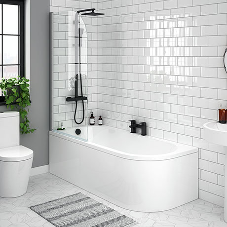J-shaped shower bath