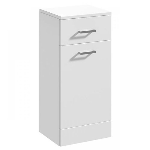 Nui 350mm White Gloss Laundry Basket With Drawer