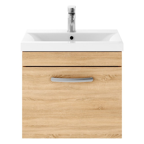 600mm Athena Natural Oak 1 Drawer Wall Unit and Basin