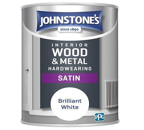1.25 litre Johnstones hardwearing white satin paint