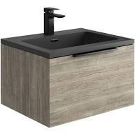 Ambiance Grey Oak 600 Wall Hung 2 Drawer Unit & Graphite Basin