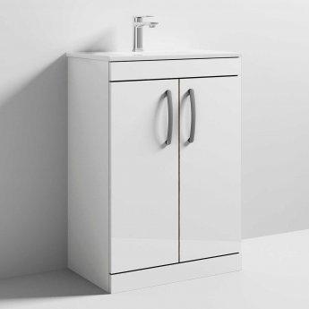 Athena 600 White Gloss 2 Door Unit & Basin