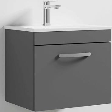 500mm Athena Gloss Grey 1 Drawer Wall Unit and Basin