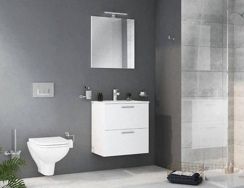 Vitra 600 White Gloss 2 Drawer Unit, Basin,Plus Mirror and Light