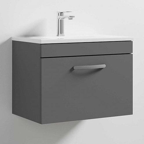 600mm Athena Gloss Grey 1 Drawer Wall Unit and Basin