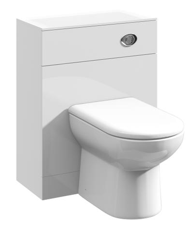 Ultra 600mm x 300mm  White Gloss WC Unit & Concealed Push Button Cistern
