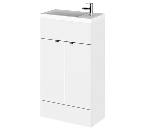 Fusion Slimline 500mm x 260mm unit and top in Gloss White
