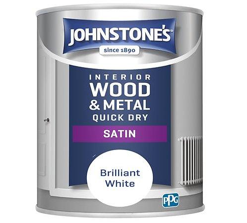1.25 litre Johnstones quick drying white satin paint
