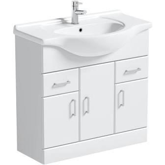 Nui 850mm White Gloss Vanity & Basin VTY850