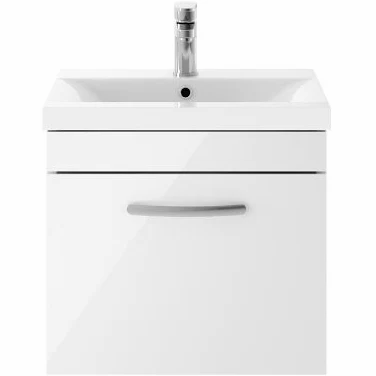 500mm Athena Gloss White 1 Drawer Wall Unit and Basin