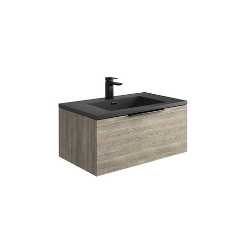 Ambiance Grey Oak 800 Wall Hung 2 Door Unit & Anthracite Basin