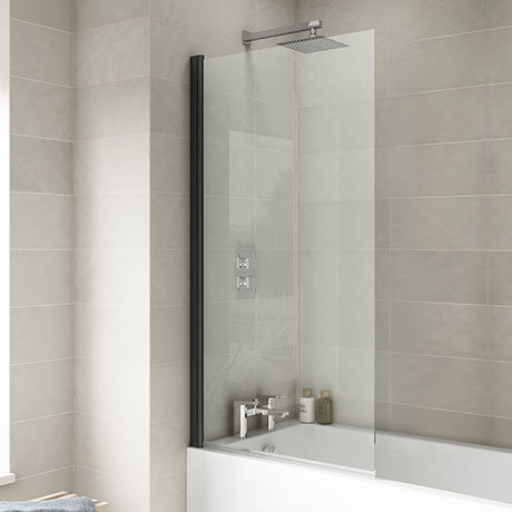 Matt Black Frame Square Shower Screen