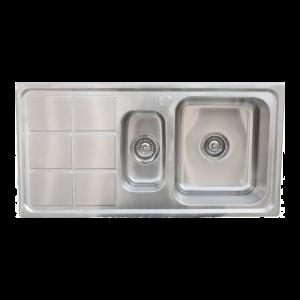 Knightsbridge 1.5 bowl stainless steel sink and waste