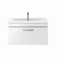 800mm Athena Gloss White 1 Drawer Wall Mounted Unit and Basin