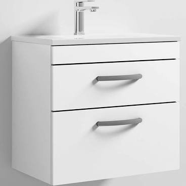 Athena 600mm White 2 Drawer Wall Basin and Unit