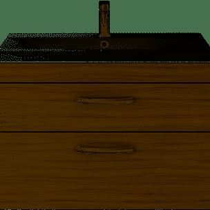 800mm Athena Driftwood Drawer Wall Mounted Unit and Basin