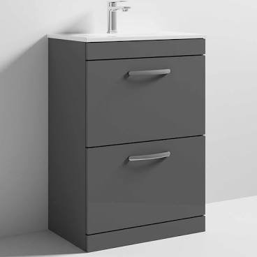 Athena 600mm Gloss Grey 2 Drawer Unit & Basin