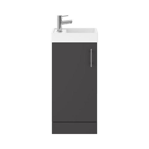 400mm Vault gloss Grey small minimalist unit and basin MIN014