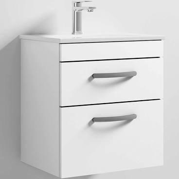 Athena 500mm White 2 Drawer Wall Basin & Unit