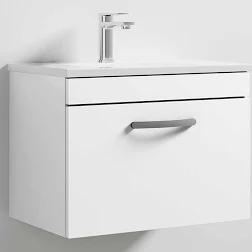 600mm Athena Gloss White 1 Drawer Wall Unit and Basin