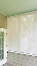 Grey White solar shade fabric Georgetown Texas exterior solar shades.