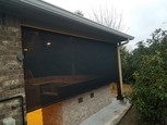 Black outdoor patio shades Pflugerville install.