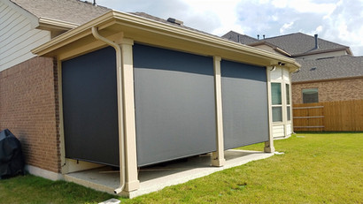 Outdoor patio blinds for tall ceilings.