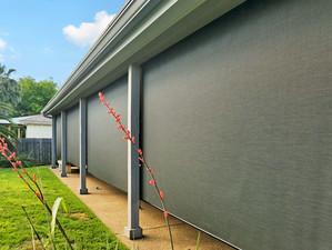 Georgetown outdoor solar shades Black solar fabric.