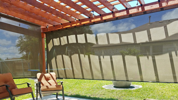 Outdoor patio shades Pflugerville TX brown sun control fabric.