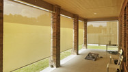 Beige solar fabric color outdoor blinds for porch Austin Texas.