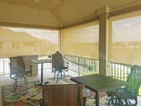 Porch blinds Hutto TX install Beige White.
