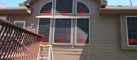 90% for non opening windows w/o blinds.