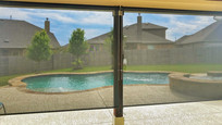 Sun screens for porches & patios  Pflugerville TX Black color.
