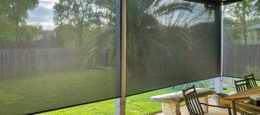 Black 97% retractable patio screens.