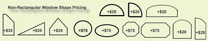 Non-Rectangular solar screen Shape Pricing.