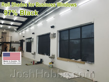 Commercial solar shades for business windows.