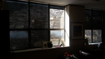 97% black office sun blocking shades.