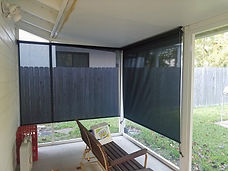 Pflugerville TX home with our outdoor blinds for porch.