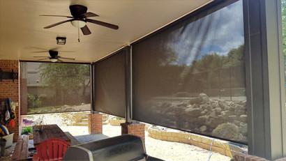 Screen porch blinds Cedar Park Texas.