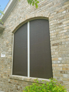 Half arched solar window screens.