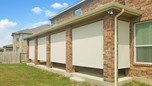 Beige sun fabric color Georgetown TX outdoor patio blinds.