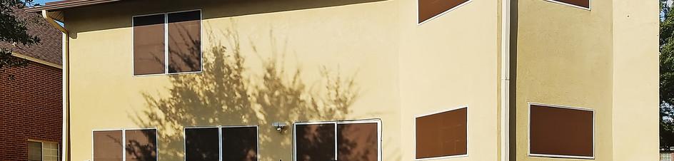 Mocha 90% sliding solar door w/ stationary pocket. Pflugerville TX 2020 install.