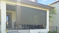 Brown solar shade color Pflugerville Texas roll up patio shades.