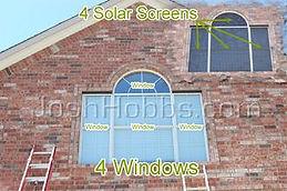 Group of 4 solar window screens.
