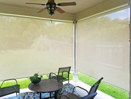 Screen porch shades Round Rock TX Beige White sun shade color.