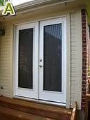 Solar screens for dual swing doors.