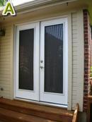 Sun screens for double swing doors.