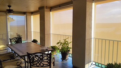 Outdoor shades for porch Georgetown installation.